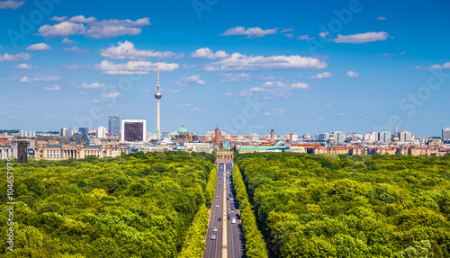 Berlin skyline panorama with Tiergarten park in summer, Germany