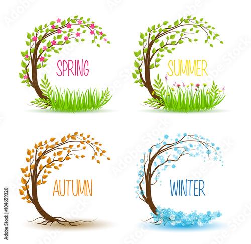 Stampa su Tela Vector seasonal tree