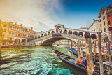 Fototapeta  - Canal Grande with Rialto Bridge at sunset, Venice, Italy