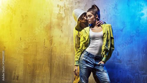 Obrazy na płótnie Canvas Sensual portrait of a young couple of dancers