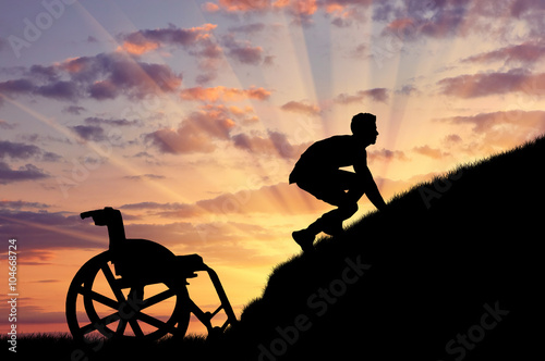 Valokuva  Silhouette of disabled person