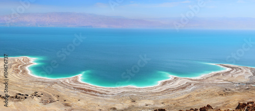 Foto op Plexiglas Blauw landscape of the Dead Sea, failures of the soil, illustrating an environmental catastrophe on the Dead Sea, Israel