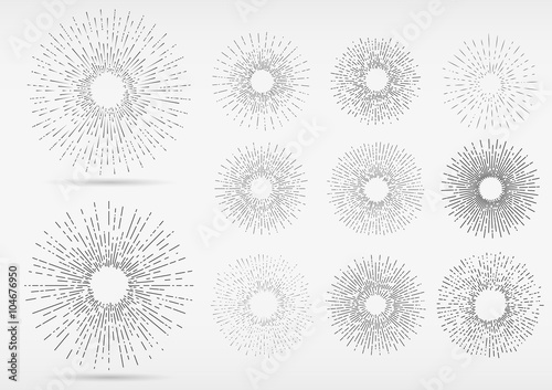 Line Art Of Sun : Linear drawing of rays the sun in hand style. graphic