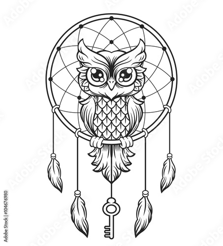 Poster Uilen cartoon Dream-catcher black and white owl. Vector line illustration