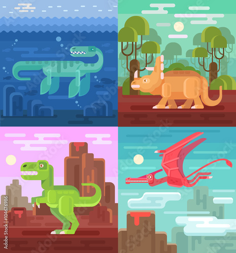 Photo  Dinosaurs set. Vector flat illustrations
