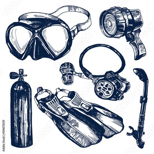 Scuba Diving Equipment Sketch Set. Tapéta, Fotótapéta