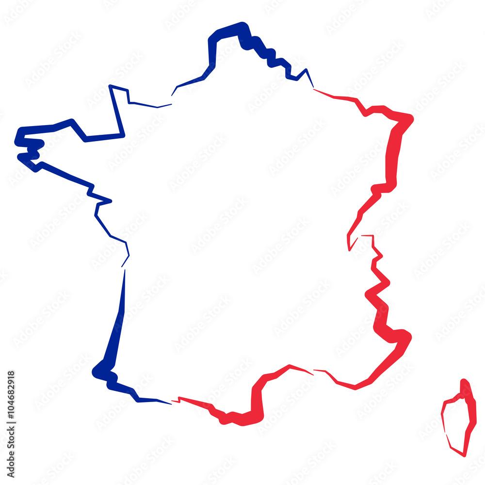 Fototapety, obrazy: Francja - mapa