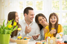 Laughing Family On Easter