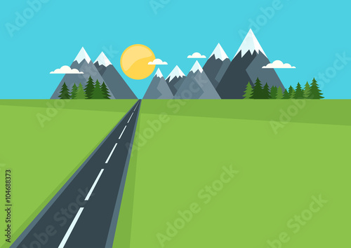 Beautiful country highway in field and mountains. Rural nature, flat style illustration. Summer or spring green landscape background with space for text. Travel and safety traffic concept.