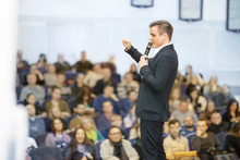 Speaker At Business Convention And Presentation. Audience
