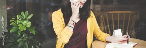 Fotografía  Woman Calling Smart Phone Writing Concept