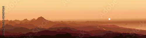 Panorama Cabezón de Oro (Cabeçó d'Or) Alicante Mountain Sunrise