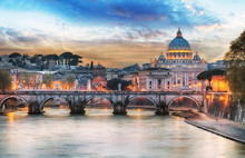 Tiber And St Peter Basilica In...