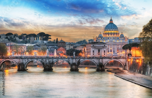 Tiber and St Peter Basilica in Vatican with rainbow, Rome