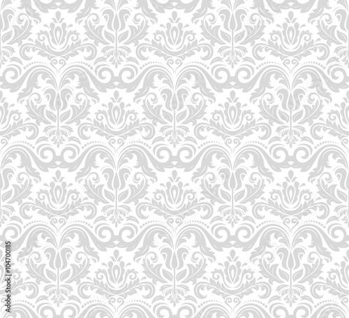 Obraz Damask seamless ornament. Traditional silver pattern. Classic oriental background - fototapety do salonu