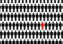 One Man In Crowd. Think Different Illustration.