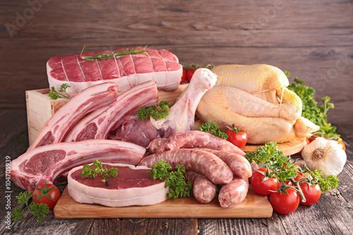 Staande foto Vlees raw meats