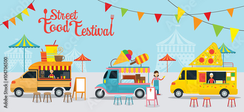 Food Truck, Street Food Festival, Food and Drink, Ice Cream, Pizza Fototapet
