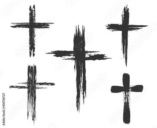 Fotografija Brush painted cross icons