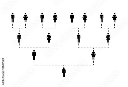 Photo  Family tree of several generations on white