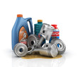Concept of auto service. Cans of motor oil and gear oil with gea