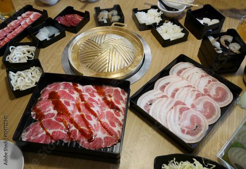 Photo  Sukiyaki Japanese menu set