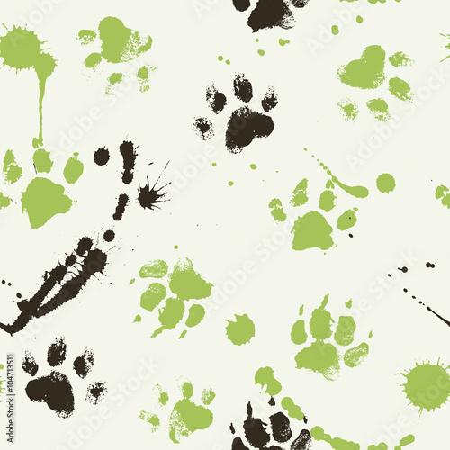 Wektorowy bezszwowy wzór z łapa odciskami stopy pies