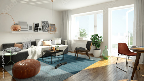 Fotografie, Obraz  3D rendering of a modern living room