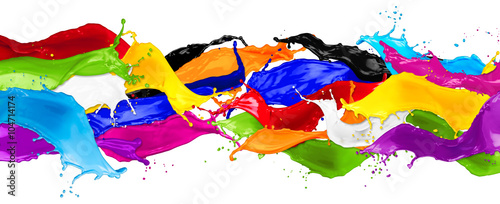 colorful wild color splash isolated on white background Wallpaper Mural
