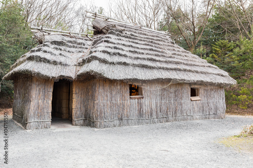 Photo Acient house thatched roof building of Ainu.