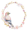 Hand painted watercolor oval frame.