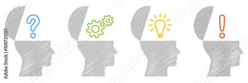 Valokuvatapetti Set: Planungskonzept, Köpfe, seitlich, farbig, bunt, schraffiert, Design, Vektor