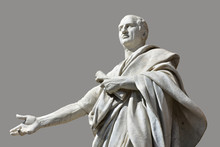 Cicero, The Greatest Orator Of Ancient Rome. Marble Statue In Front Of Palace Of Justice In Rome (with Grey Background)