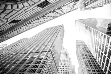 Fototapeta Nowy York Looking up at skyscrapers in Manhattan, New York City, USA