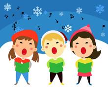 Children Singing Christmas Carols, Vector Illustration