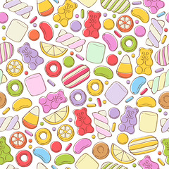 Panel Szklany Słodycze Colorful sweets pattern. Assorted candies.