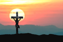 Silhouette Jesus And The Cross Over Sunset On Mountain Top With Copy Space (Painting Draw Water Color)
