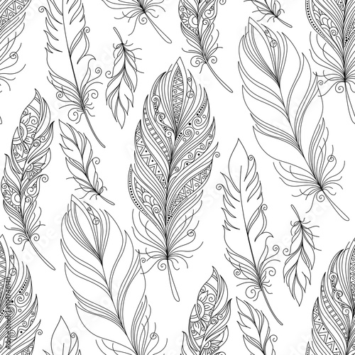 Vector Seamless Monochrome Pattern with Doodle Feathers