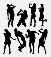 Singer Male And Female Silhouette. Good Use For Logo, Symbol, Web Icon, Sign, Mascot, Avatar, Or Any Design You Want. Easy To Use.
