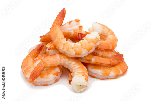 Shrimps isolated on white background concept Canvas Print