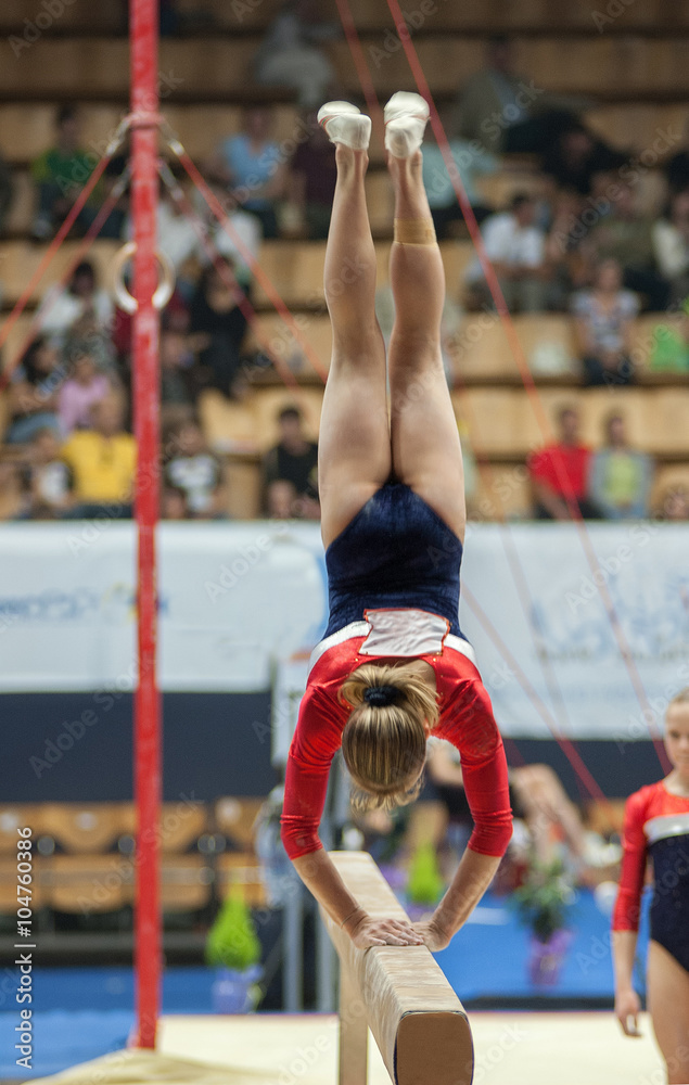 Photo  Спортивная гимнастика, прыжок на бревне.