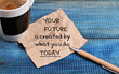 canvas print picture - Inspiration motivation quotation your future is created by what you do today and cup of coffee