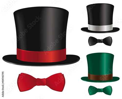 Leinwand Poster Top hat and bow tie