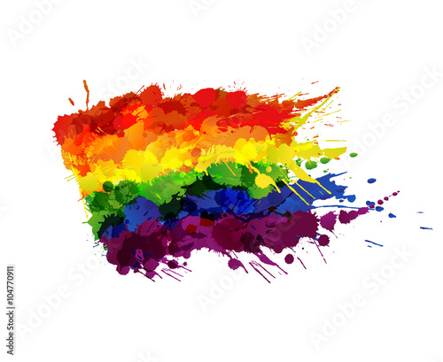 Valokuva  Gay or LGBT flag made of colorful splashes