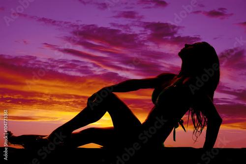 Printed kitchen splashbacks Panther silhouette of woman in bikini laying back hand on knee