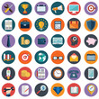 Leinwanddruck Bild - Flat icons design modern vector illustration big set of various financial service items, web and technology development, business management symbol, marketing items and office equipment on background