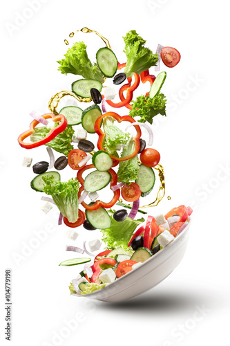 flying salad isloated on white Poster