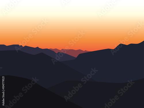 Tuinposter Purper mountain landscape