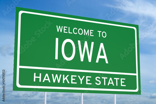 Photo  Welcome to Iowa state road sign