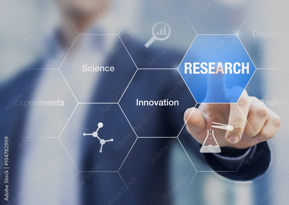 Fototapeta Businessman presenting concept about research, innovation and experiments
